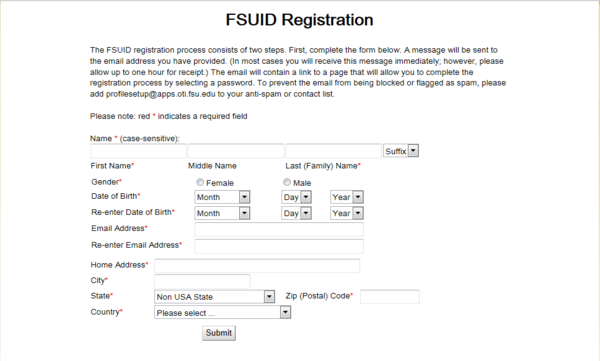 FSUID Registration dialog box screen shot