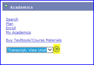 Academics area drop down screen shot