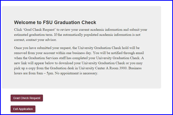 Welcome to FSU Grad Check page