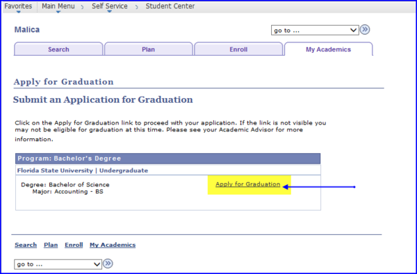 Apply for Graduation link screen shot