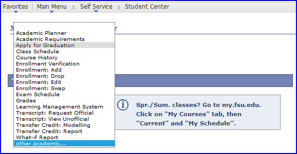 Apply for Graduation selection screen shot