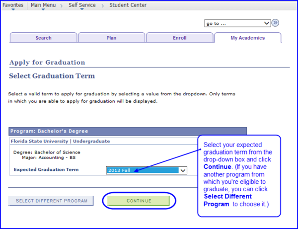 Expected Graduation Term screen shot