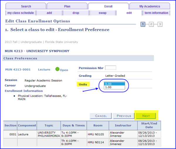 Enrollment Preferences screen shot