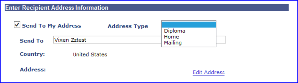 Enter Recipinet Address Info drop down screen shot