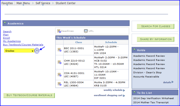 Student Center Grades screen shot