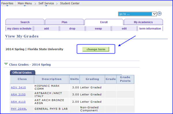 View My Grades screen shot